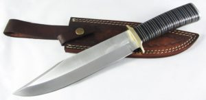 Moorhaus Handmade D2 Tool Steel Combat Bowie Knife with Leather Sheath
