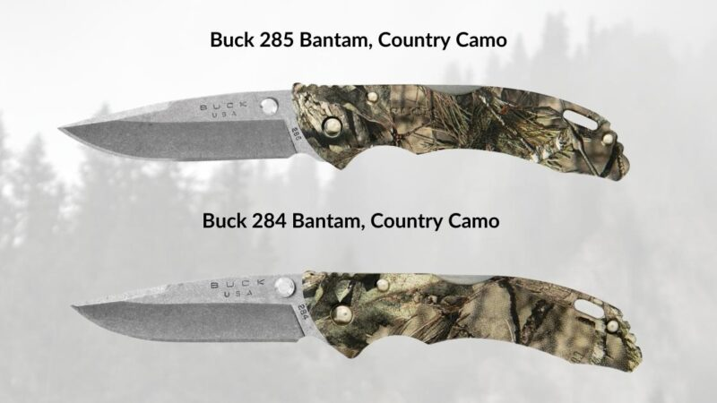buck bantam 284 & 285 in country camo side by side
