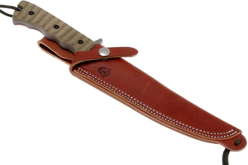 tops knives pig hunter with leather sheath