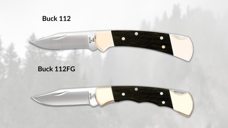 buck 112 with and without finger grooves side by side