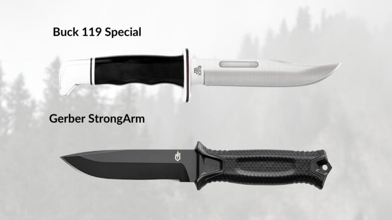 buck 119 and gerber strongarm side by side